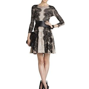 BCBGMAXAZRIA Jacquard Lace A-Line Dress